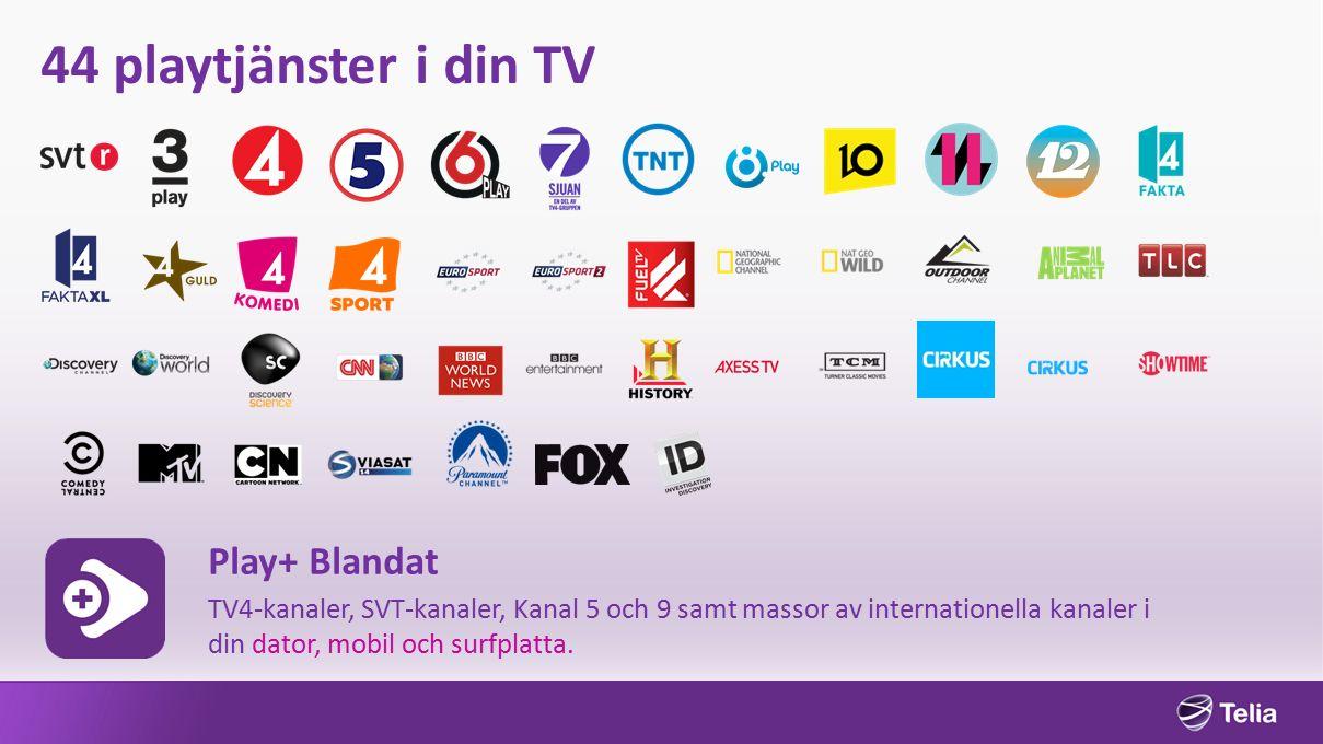 44 playtjänster i din TV Play+ Blandat TV4-kanaler, SVT-kanaler, Kanal 5 och 9 samt massor av internationella kanaler i din dator, mobil och surfplatta.