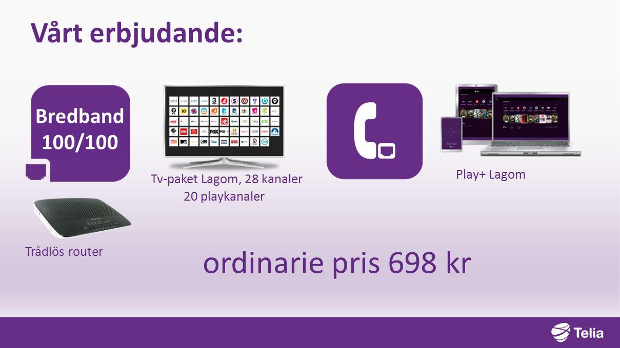 Trådlös router Bredband 100/100 ordinarie pris 698 kr Vårt erbjudande: Play+ Lagom Tv-paket Lagom, 28 kanaler 20 playkanaler