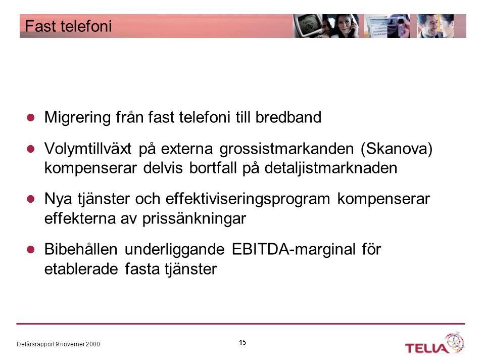 Delårsrapport 9 novemer 2000 15 Fast telefoni Migrering från fast telefoni till bredband Volymtillväxt på externa grossistmarkanden (Skanova) kompenserar delvis bortfall på detaljistmarknaden Nya tjänster och effektiviseringsprogram kompenserar effekterna av prissänkningar Bibehållen underliggande EBITDA-marginal för etablerade fasta tjänster
