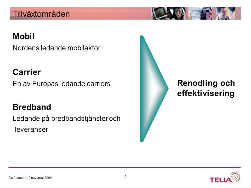 Delårsrapport 9 novemer 2000 3 Tillväxtområden Mobil Nordens ledande mobilaktör Carrier En av Europas ledande carriers Bredband Ledande på bredbandstjänster och -leveranser Renodling och effektivisering