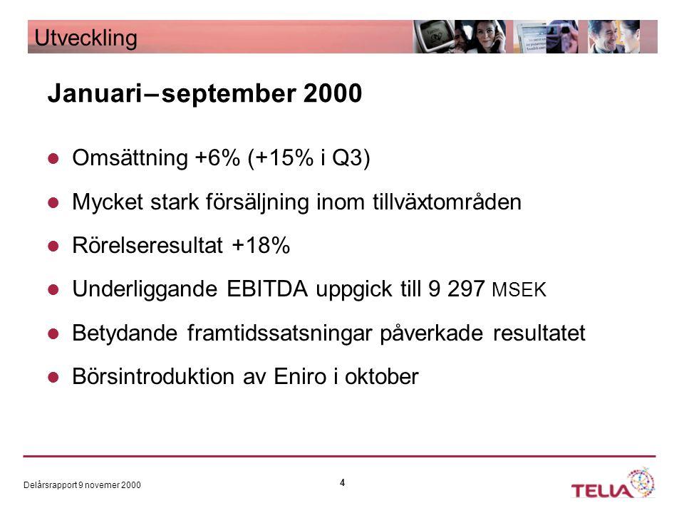 Delårsrapport 9 novemer 2000 4 Omsättning +6% (+15% i Q3) Mycket stark försäljning inom tillväxtområden Rörelseresultat +18% Underliggande EBITDA uppgick till 9 297 MSEK Betydande framtidssatsningar påverkade resultatet Börsintroduktion av Eniro i oktober Utveckling Januari – september 2000
