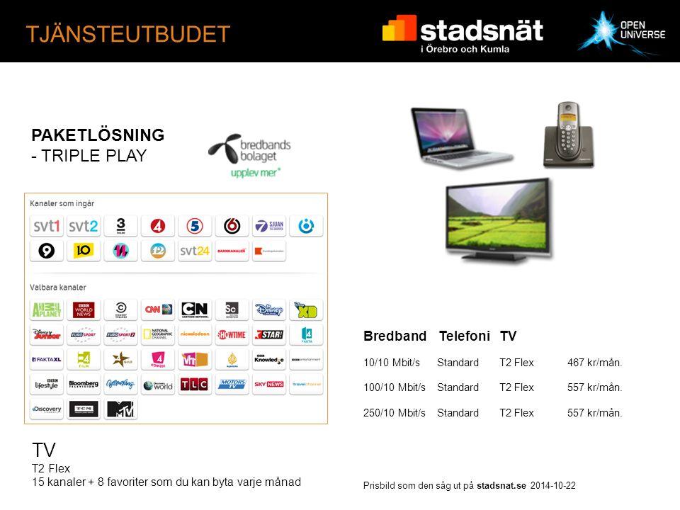 TJÄNSTEUTBUDET PAKETLÖSNING - TRIPLE PLAY Bredband TelefoniTV 10/10 Mbit/s StandardT2 Flex467 kr/mån.
