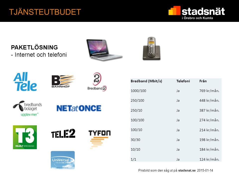 TJÄNSTEUTBUDET PAKETLÖSNING - Internet och telefoni Bredband (Mbit/s)TelefoniFrån 1000/100Ja769 kr/mån.