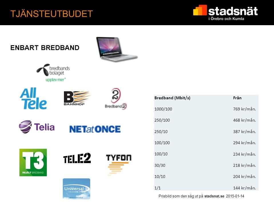 TJÄNSTEUTBUDET Prisbild som den såg ut på stadsnat.se 2015-01-14 ENBART BREDBAND Bredband (Mbit/s)Från 1000/100769 kr/mån.