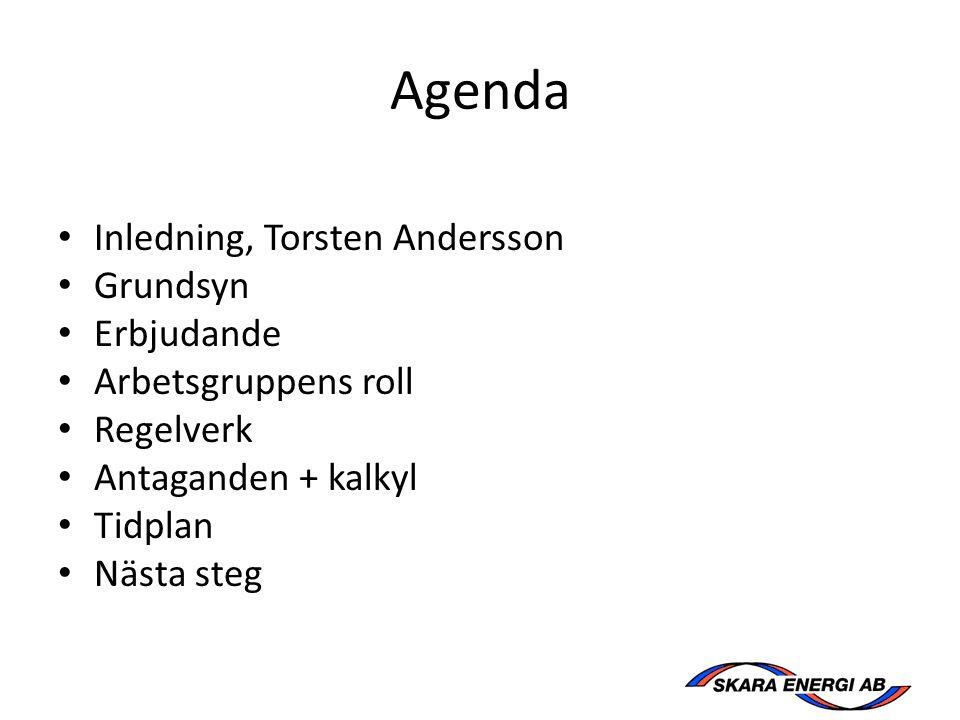Agenda Inledning, Torsten Andersson Grundsyn Erbjudande Arbetsgruppens roll Regelverk Antaganden + kalkyl Tidplan Nästa steg