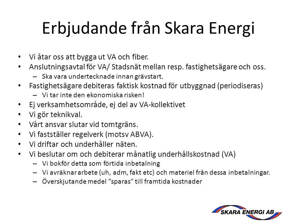 Erbjudande från Skara Energi Vi åtar oss att bygga ut VA och fiber.
