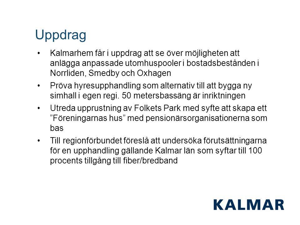 Uppdrag Kalmarhem får i uppdrag att se över möjligheten att anlägga anpassade utomhuspooler i bostadsbestånden i Norrliden, Smedby och Oxhagen Pröva hyresupphandling som alternativ till att bygga ny simhall i egen regi.