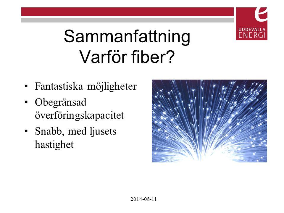Sammanfattning Varför fiber? Fantastiska möjligheter Obegränsad överföringskapacitet Snabb, med ljusets hastighet 2014-08-11