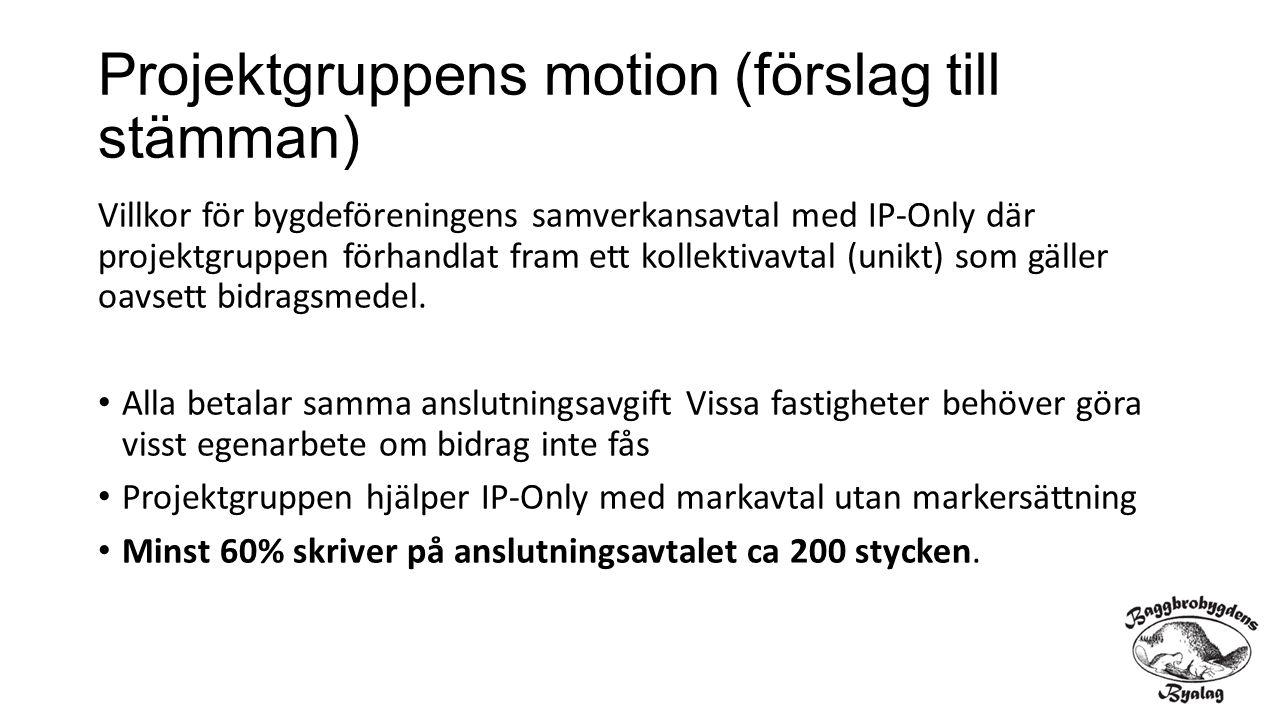 Projektgruppens motion (förslag till stämman) Villkor för bygdeföreningens samverkansavtal med IP-Only där projektgruppen förhandlat fram ett kollekti