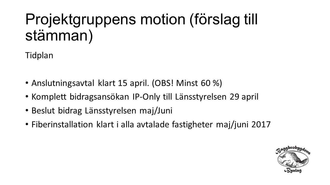 Projektgruppens motion (förslag till stämman) Tidplan Anslutningsavtal klart 15 april. (OBS! Minst 60 %) Komplett bidragsansökan IP-Only till Länsstyr