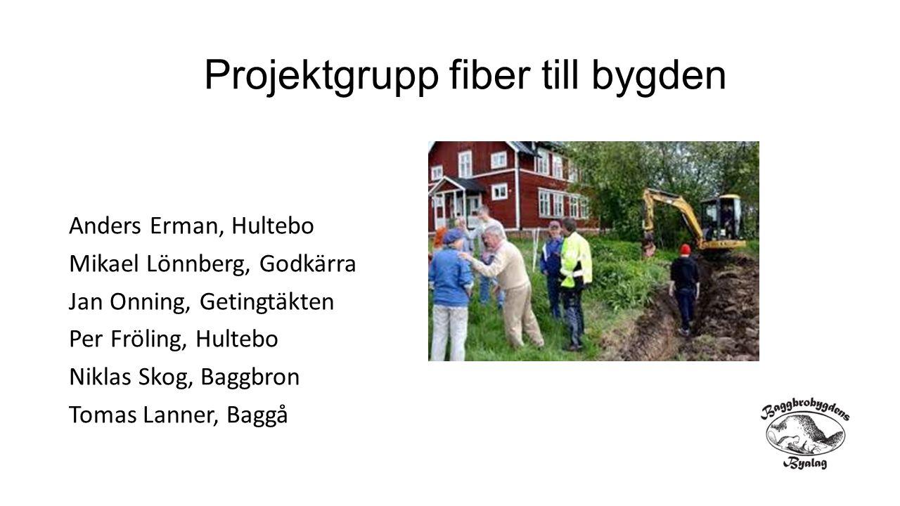 Projektgrupp fiber till bygden Anders Erman, Hultebo Mikael Lönnberg, Godkärra Jan Onning, Getingtäkten Per Fröling, Hultebo Niklas Skog, Baggbron Tom