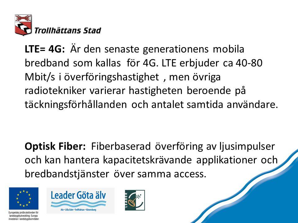 LTE= 4G: Är den senaste generationens mobila bredband som kallas för 4G.