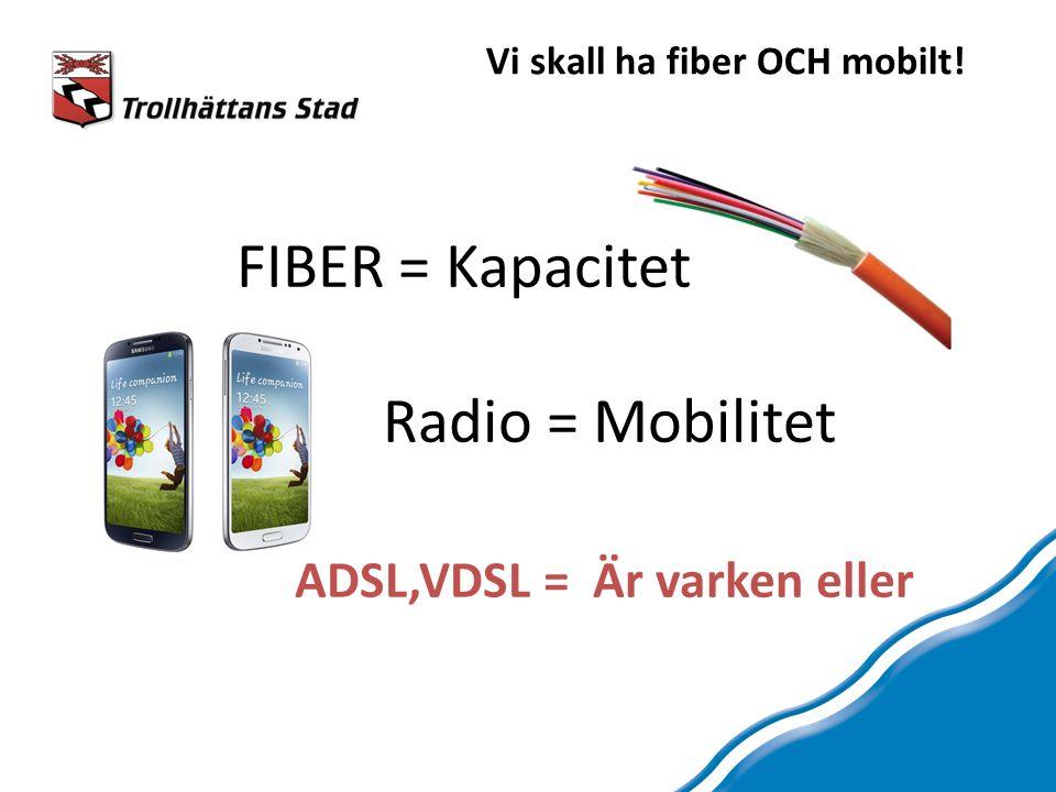 Vi skall ha fiber OCH mobilt! FIBER = Kapacitet Radio = Mobilitet ADSL,VDSL = Är varken eller