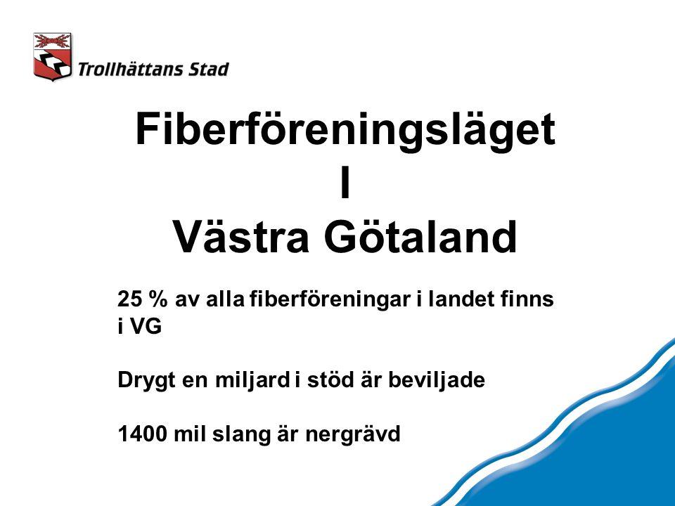Fiberföreningsläget I Västra Götaland 25 % av alla fiberföreningar i landet finns i VG Drygt en miljard i stöd är beviljade 1400 mil slang är nergrävd