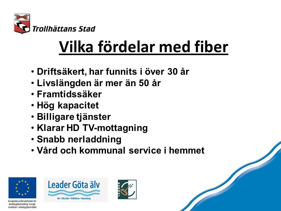 Vilka fördelar med fiber Driftsäkert, har funnits i över 30 år Livslängden är mer än 50 år Framtidssäker Hög kapacitet Billigare tjänster Klarar HD TV-mottagning Snabb nerladdning Vård och kommunal service i hemmet