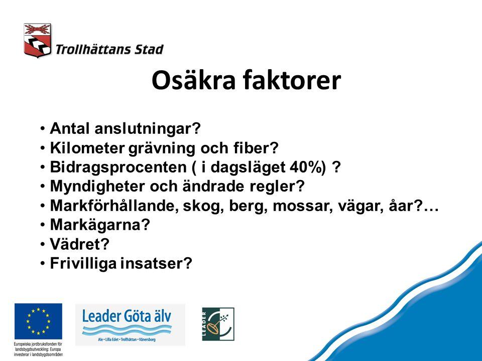 Osäkra faktorer Antal anslutningar. Kilometer grävning och fiber.