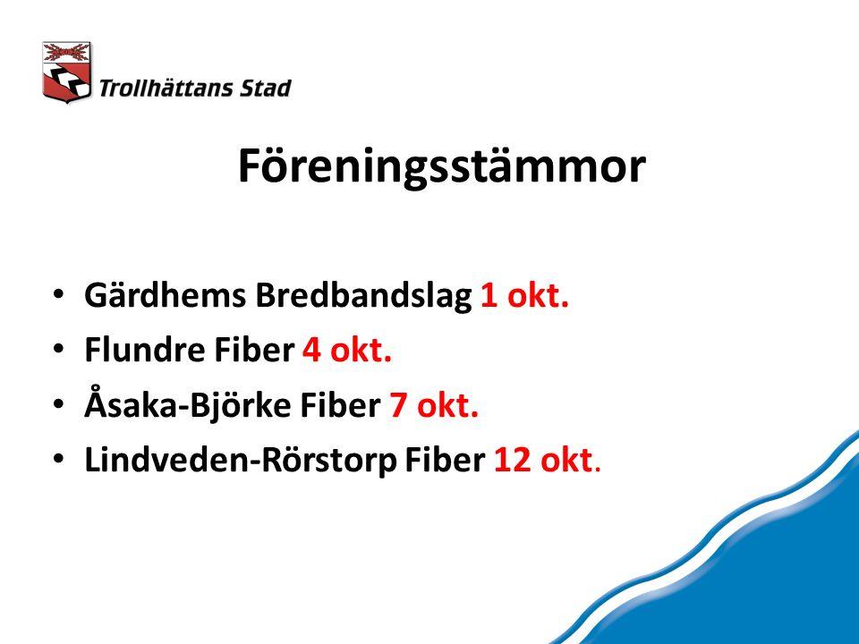 Föreningsstämmor Gärdhems Bredbandslag 1 okt. Flundre Fiber 4 okt.
