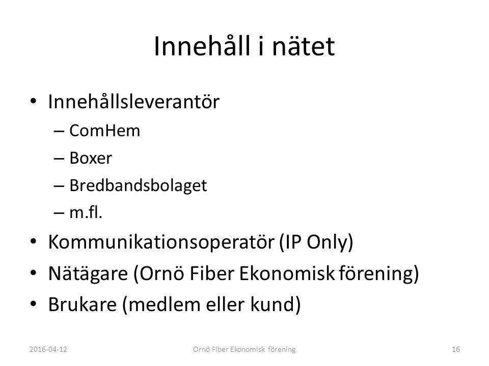 Innehåll i nätet Innehållsleverantör – ComHem – Boxer – Bredbandsbolaget – m.fl.