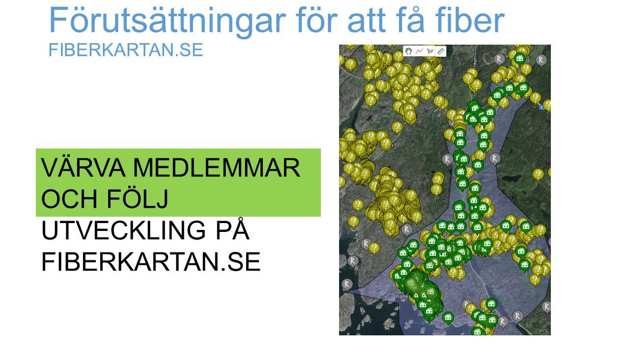 Förutsättningar för att få fiber FIBERKARTAN.SE VÄRVA MEDLEMMAR OCH FÖLJ UTVECKLING PÅ FIBERKARTAN.SE