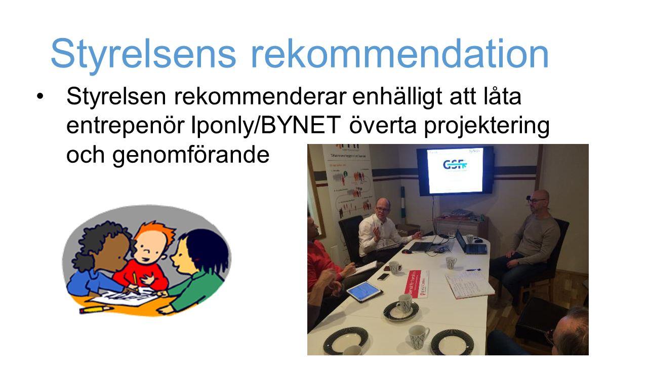 Styrelsen rekommenderar enhälligt att låta entrepenör Iponly/BYNET överta projektering och genomförande