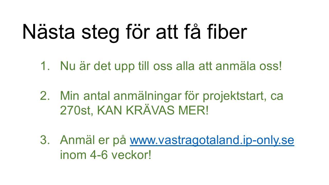 Nästa steg för att få fiber 1.Nu är det upp till oss alla att anmäla oss.