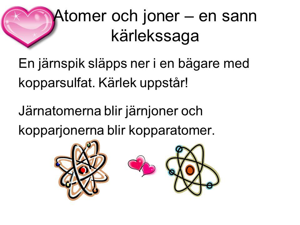 Atomer och joner – en sann kärlekssaga En järnspik släpps ner i en bägare med kopparsulfat.