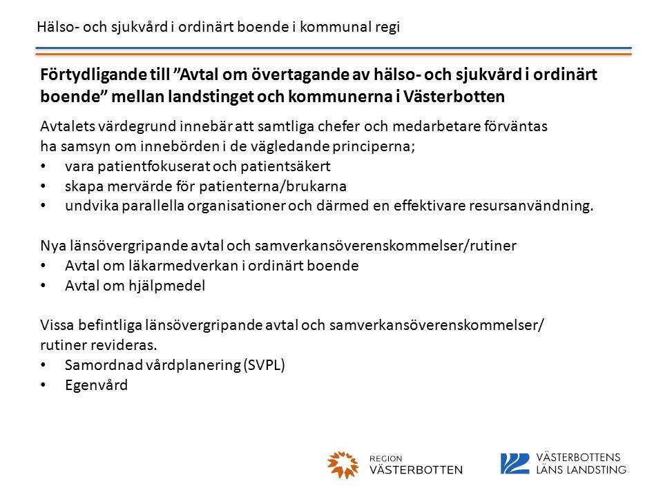 Hälso- och sjukvård i ordinärt boende i kommunal regi Förtydligande till Avtal om övertagande av hälso- och sjukvård i ordinärt boende mellan landstinget och kommunerna i Västerbotten Avtalets värdegrund innebär att samtliga chefer och medarbetare förväntas ha samsyn om innebörden i de vägledande principerna; vara patientfokuserat och patientsäkert skapa mervärde för patienterna/brukarna undvika parallella organisationer och därmed en effektivare resursanvändning.
