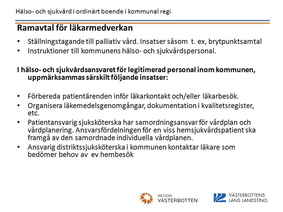 Hälso- och sjukvård i ordinärt boende i kommunal regi Ramavtal för läkarmedverkan Ställningstagande till palliativ vård.