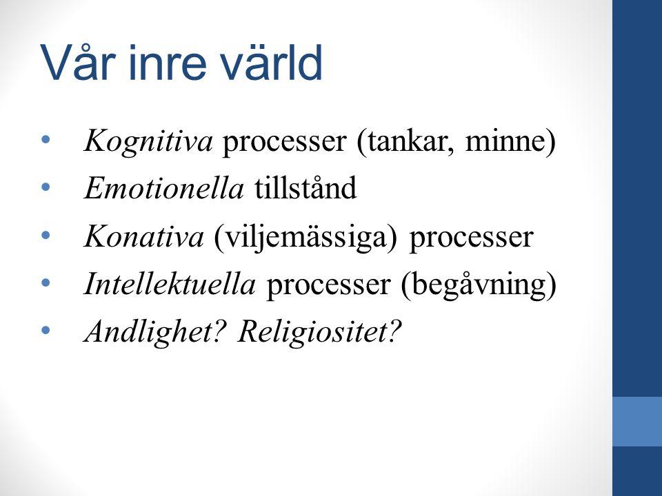 Vår inre värld Kognitiva processer (tankar, minne) Emotionella tillstånd Konativa (viljemässiga) processer Intellektuella processer (begåvning) Andlig