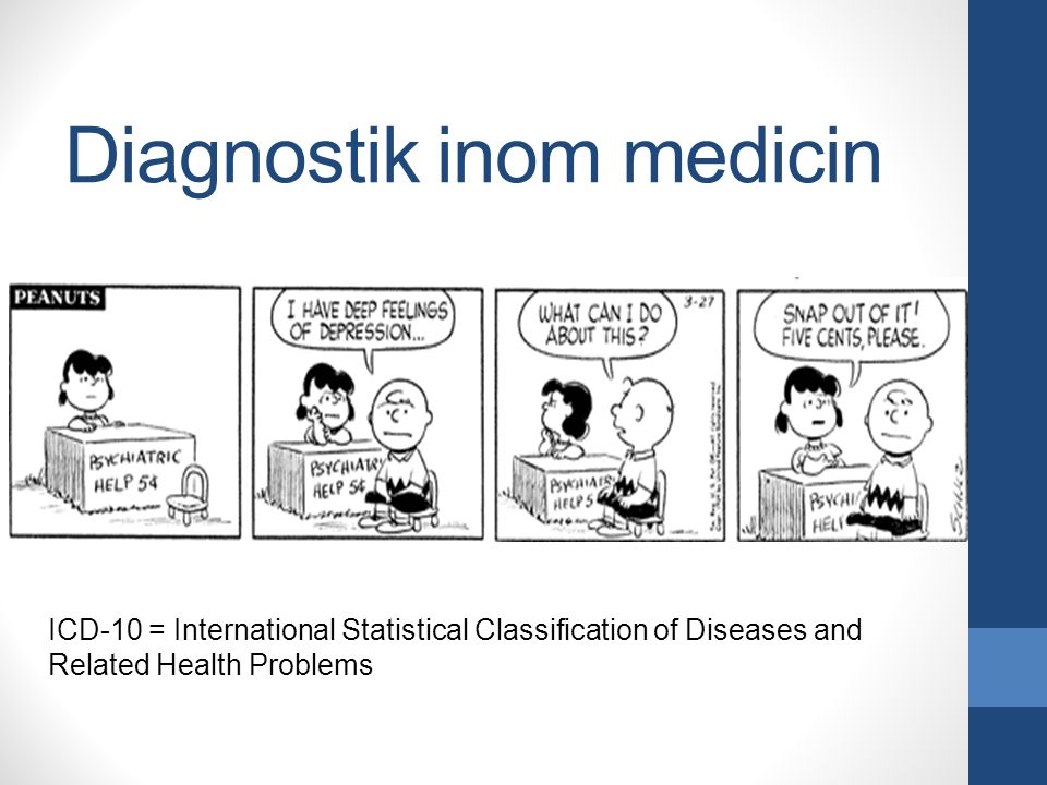 Diagnostik inom medicin ICD-10 = International Statistical Classification of Diseases and Related Health Problems