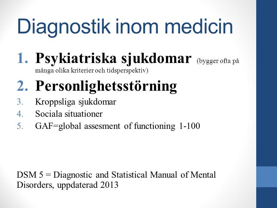 Diagnostik inom medicin 1.Psykiatriska sjukdomar (bygger ofta på många olika kriterier och tidsperspektiv) 2.Personlighetsstörning 3.Kroppsliga sjukdo