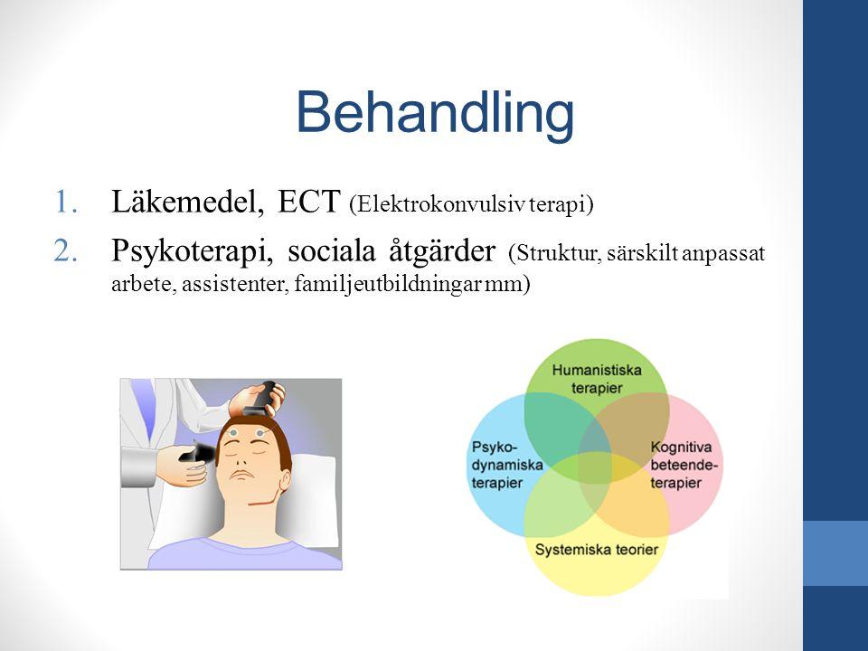 Behandling 1.Läkemedel, ECT (Elektrokonvulsiv terapi) 2.Psykoterapi, sociala åtgärder (Struktur, särskilt anpassat arbete, assistenter, familjeutbildn