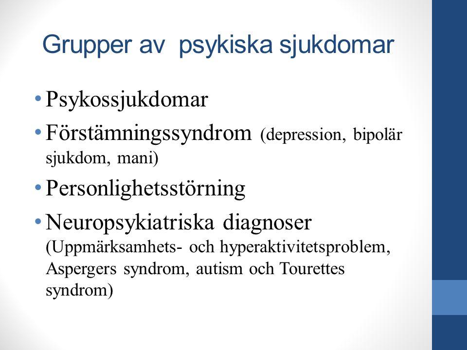 Grupper av psykiska sjukdomar Psykossjukdomar Förstämningssyndrom (depression, bipolär sjukdom, mani) Personlighetsstörning Neuropsykiatriska diagnose