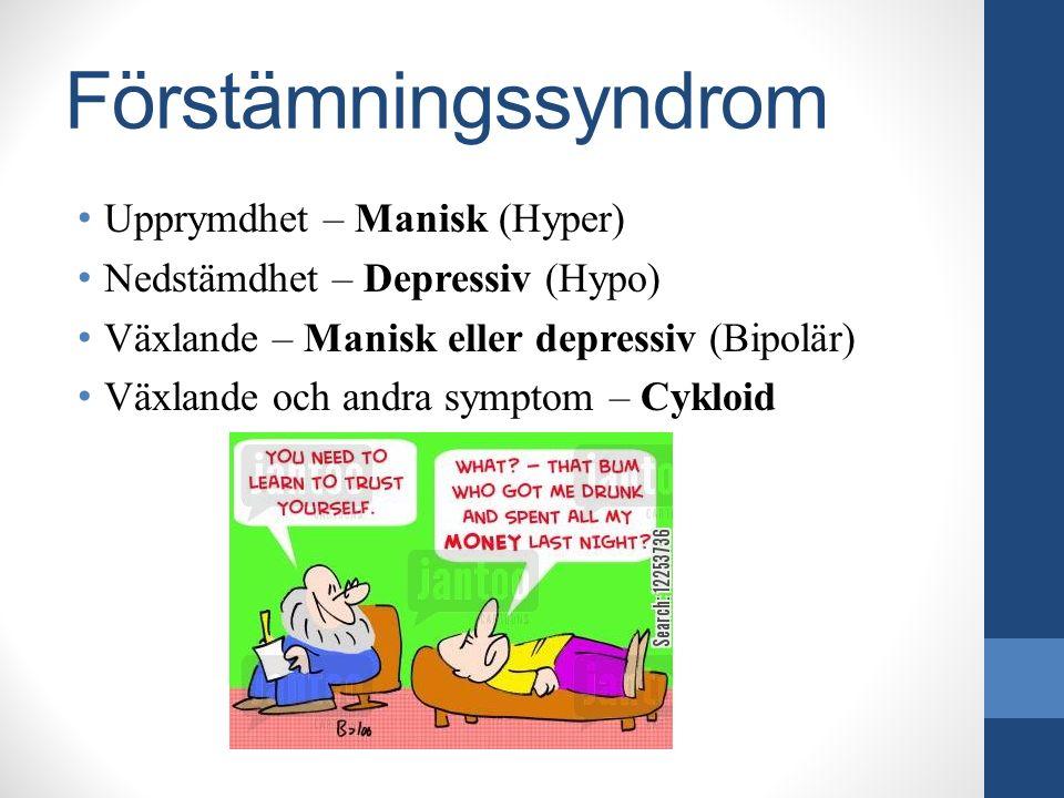 Förstämningssyndrom Upprymdhet – Manisk (Hyper) Nedstämdhet – Depressiv (Hypo) Växlande – Manisk eller depressiv (Bipolär) Växlande och andra symptom