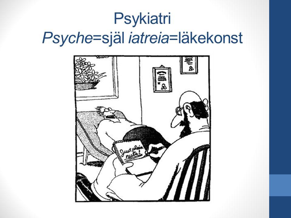 Psykiatri Psyche=själ iatreia=läkekonst