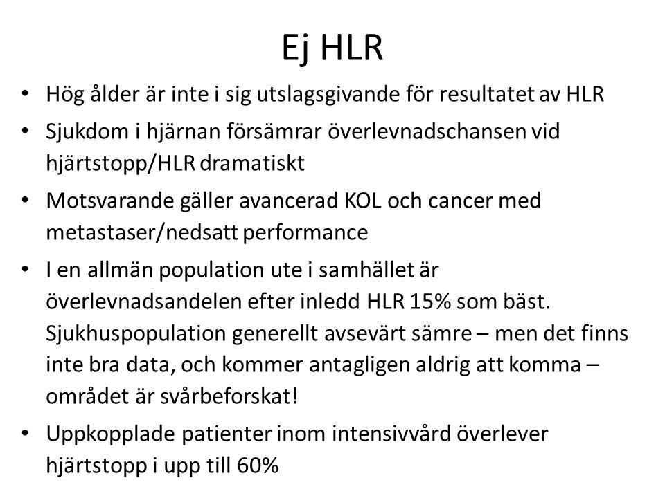Ej HLR Hög ålder är inte i sig utslagsgivande för resultatet av HLR Sjukdom i hjärnan försämrar överlevnadschansen vid hjärtstopp/HLR dramatiskt Motsv