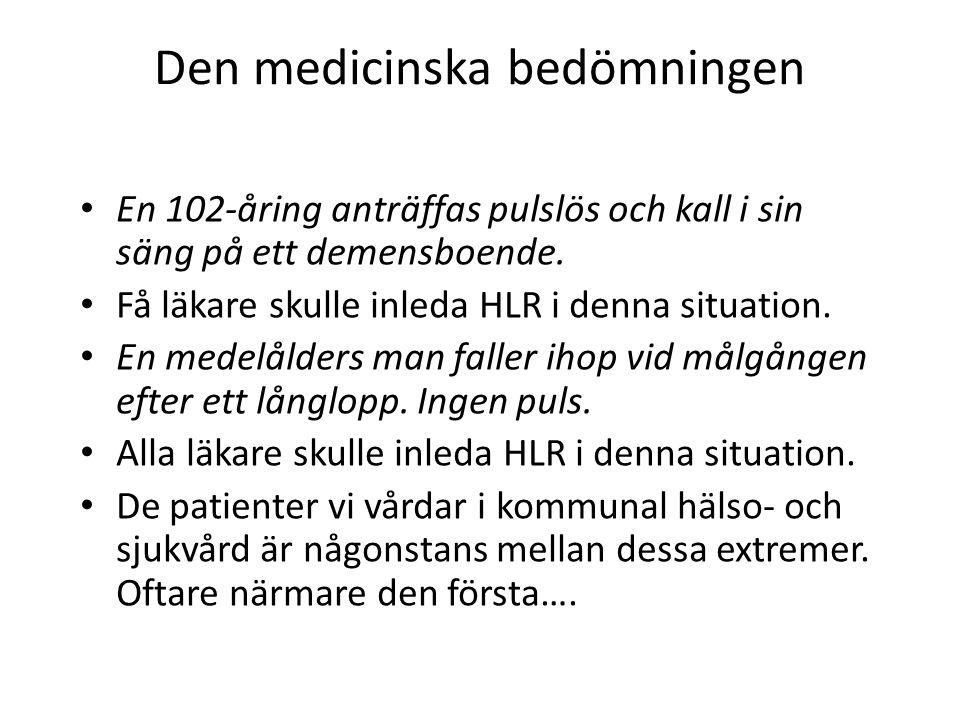Den medicinska bedömningen En 102-åring anträffas pulslös och kall i sin säng på ett demensboende. Få läkare skulle inleda HLR i denna situation. En m