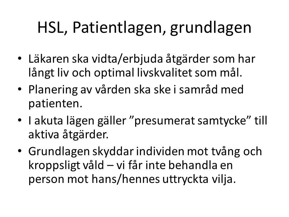 HSL, Patientlagen, grundlagen Läkaren ska vidta/erbjuda åtgärder som har långt liv och optimal livskvalitet som mål. Planering av vården ska ske i sam