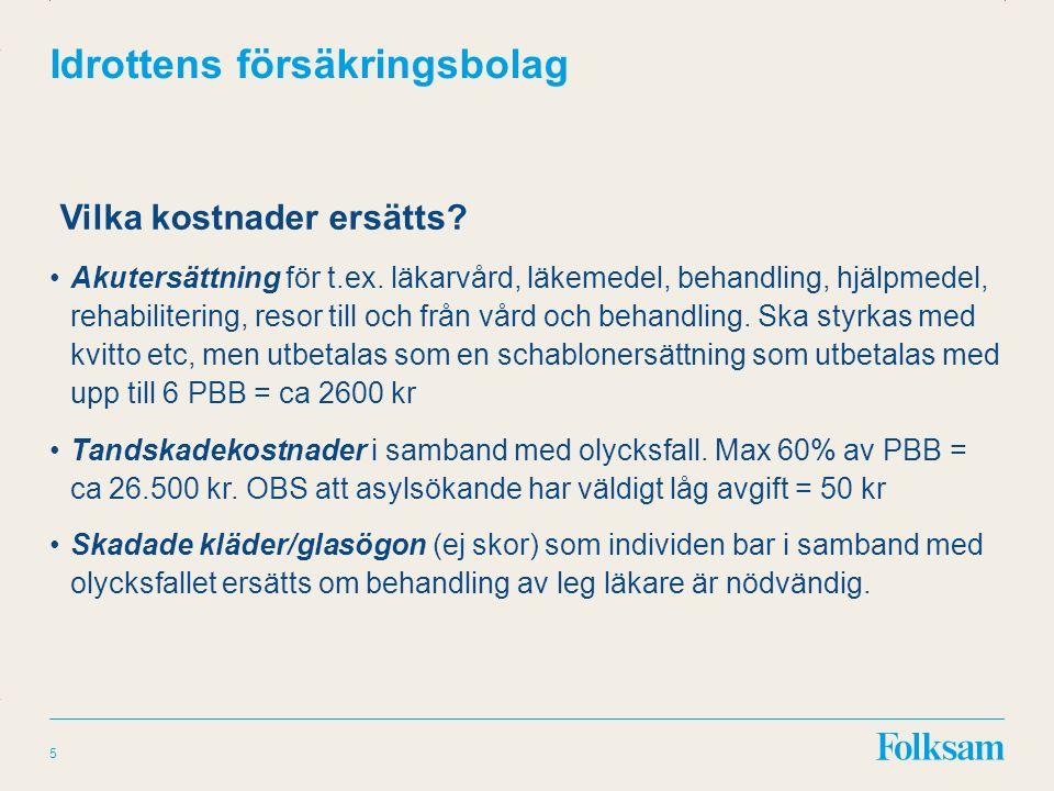 Innehållsyta Rubrikyta Idrottens försäkringsbolag Vilka kostnader ersätts.