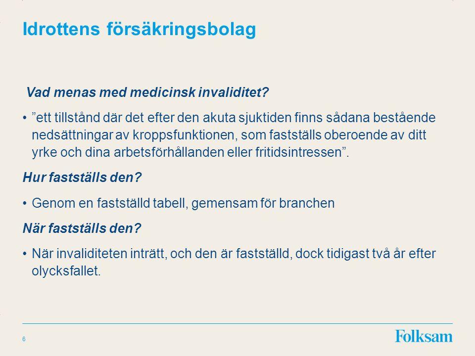 Innehållsyta Rubrikyta Idrottens försäkringsbolag Vad menas med medicinsk invaliditet.