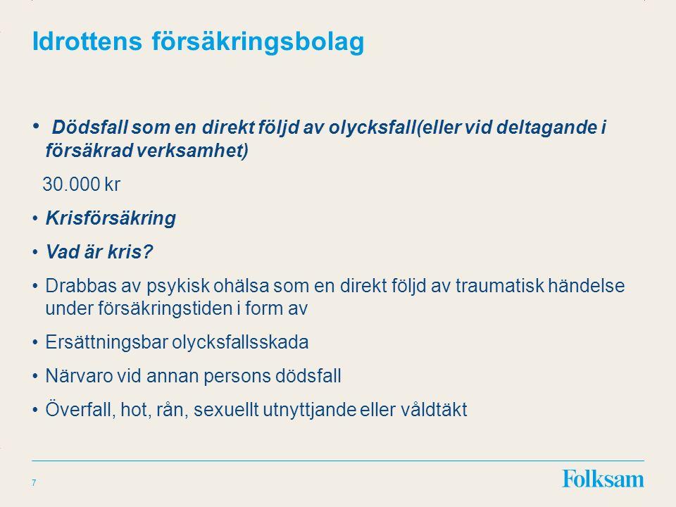 Innehållsyta Rubrikyta Idrottens försäkringsbolag Dödsfall som en direkt följd av olycksfall(eller vid deltagande i försäkrad verksamhet) 30.000 kr Krisförsäkring Vad är kris.