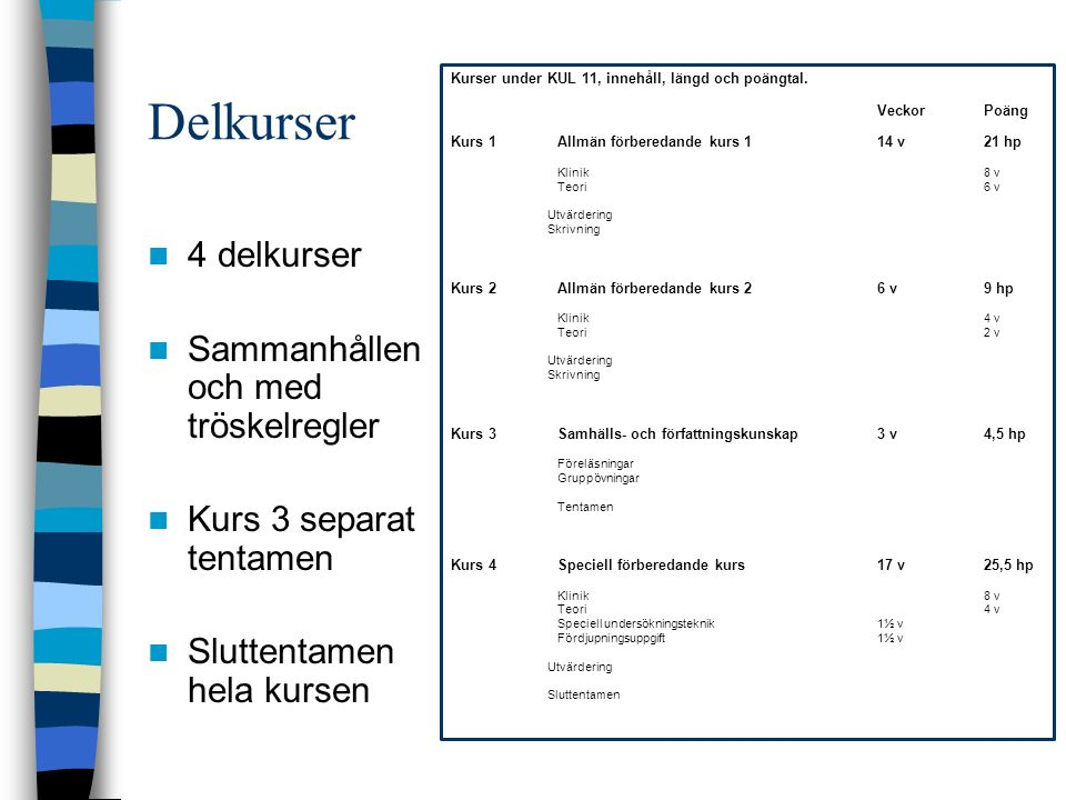 Delkurser 4 delkurser Sammanhållen och med tröskelregler Kurs 3 separat tentamen Sluttentamen hela kursen Kurser under KUL 11, innehåll, längd och poängtal.