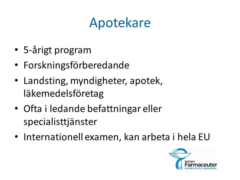 Apotekare 5-årigt program Forskningsförberedande Landsting, myndigheter, apotek, läkemedelsföretag Ofta i ledande befattningar eller specialisttjänster Internationell examen, kan arbeta i hela EU