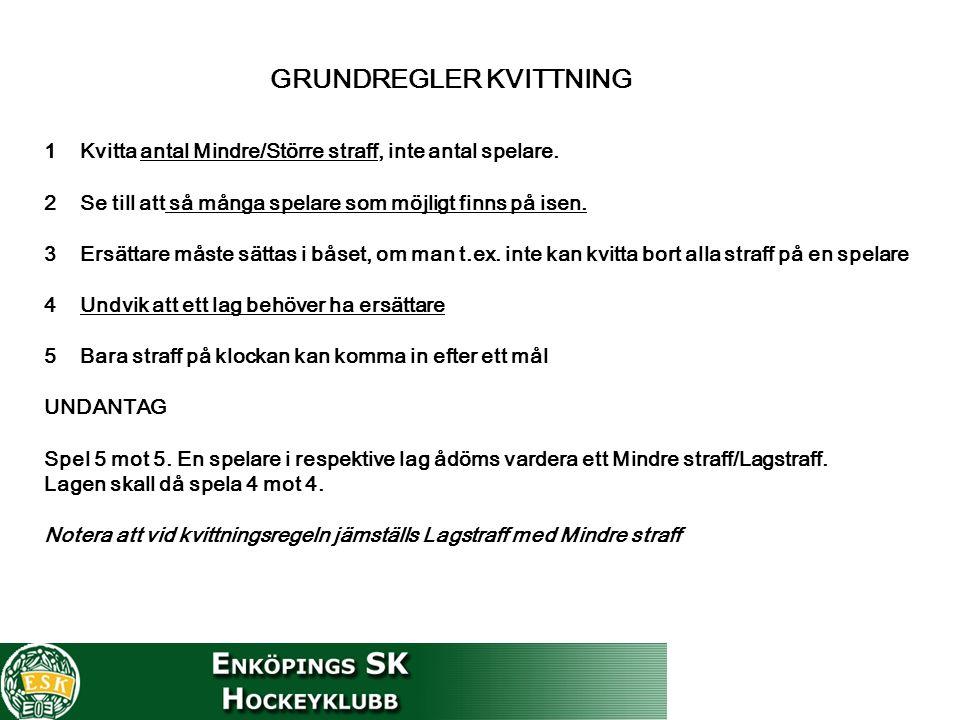 GRUNDREGLER KVITTNING 1Kvitta antal Mindre/Större straff, inte antal spelare.