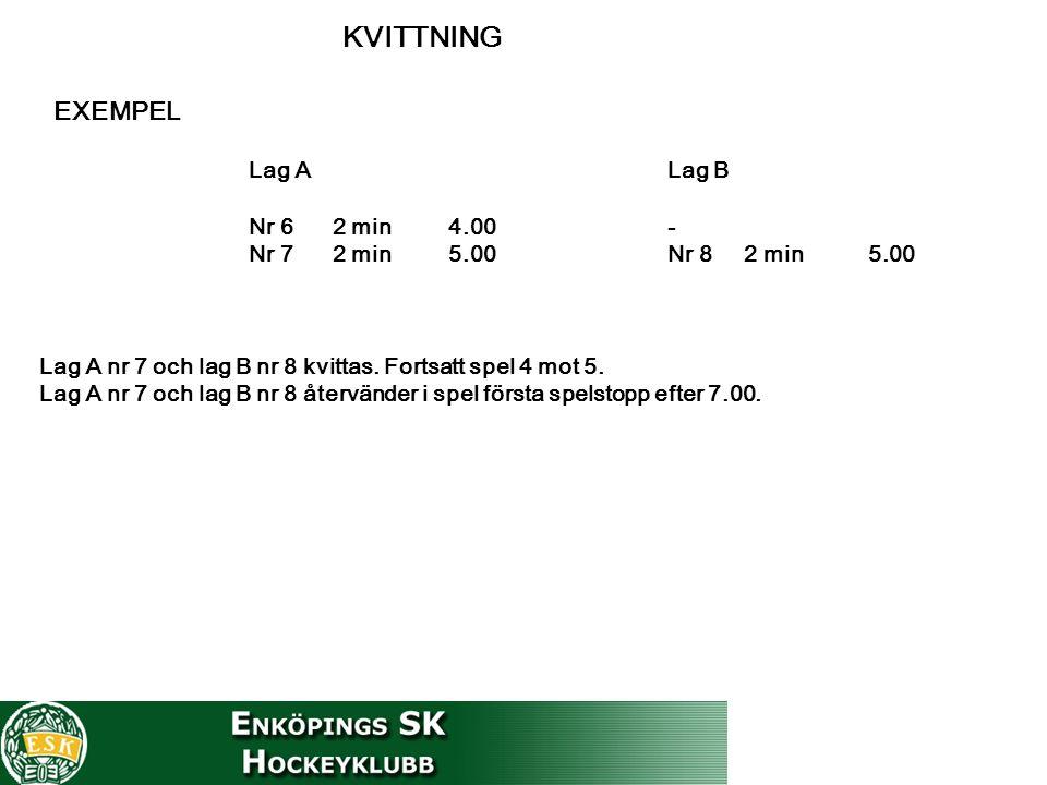 KVITTNING EXEMPEL Lag A Lag B Nr 6 2 min 4.00- Nr 7 2 min 5.00Nr 8 2 min 5.00 Lag A nr 7 och lag B nr 8 kvittas.