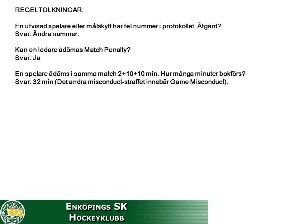 REGELTOLKNINGAR: En utvisad spelare eller målskytt har fel nummer i protokollet. Åtgärd? Svar: Ändra nummer. Kan en ledare ådömas Match Penalty? Svar: