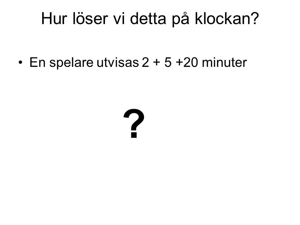 Hur löser vi detta på klockan? En spelare utvisas 2 + 5 +20 minuter ?