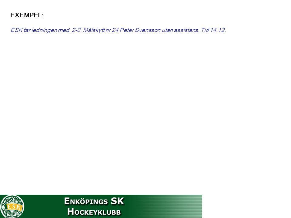EXEMPEL: ESK tar ledningen med 2-0. Målskytt nr 24 Peter Svensson utan assistans. Tid 14.12.