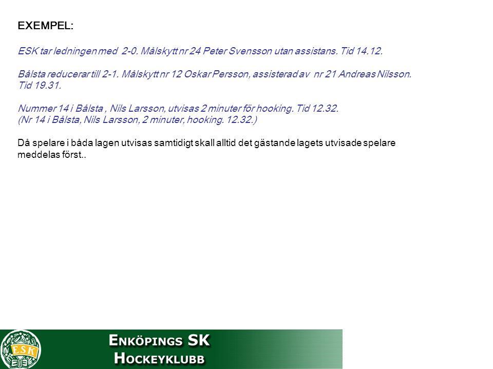 EXEMPEL: ESK tar ledningen med 2-0. Målskytt nr 24 Peter Svensson utan assistans. Tid 14.12. Bålsta reducerar till 2-1. Målskytt nr 12 Oskar Persson,