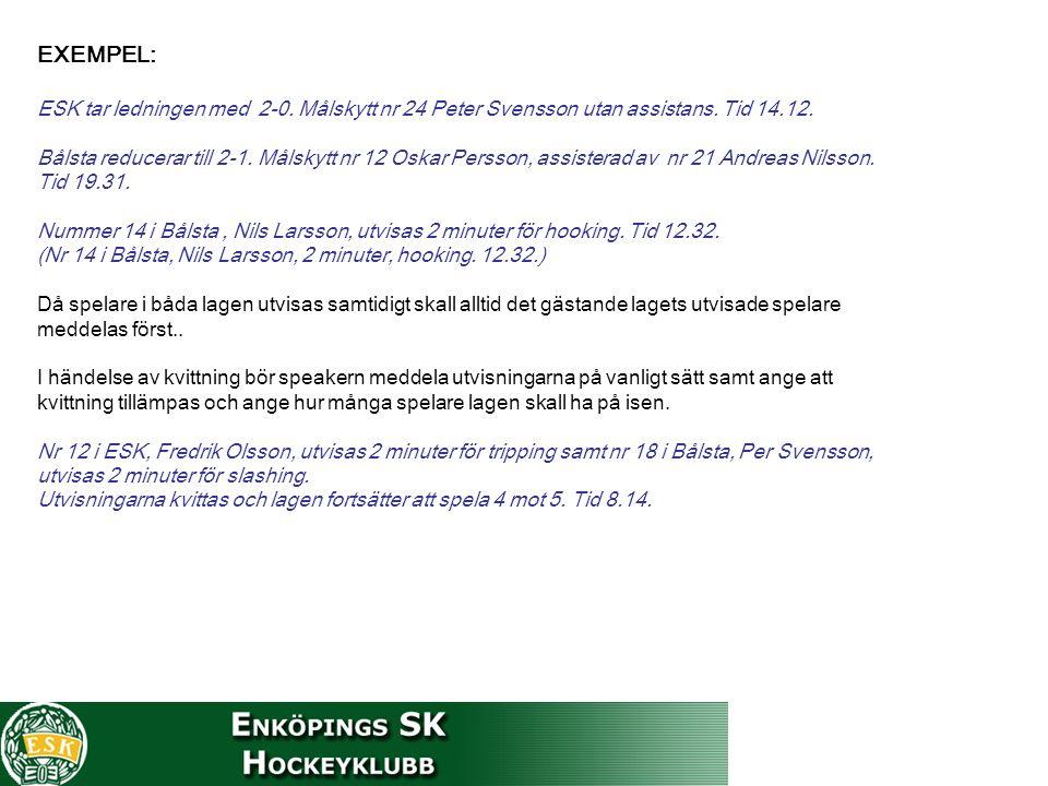 EXEMPEL: ESK tar ledningen med 2-0. Målskytt nr 24 Peter Svensson utan assistans.